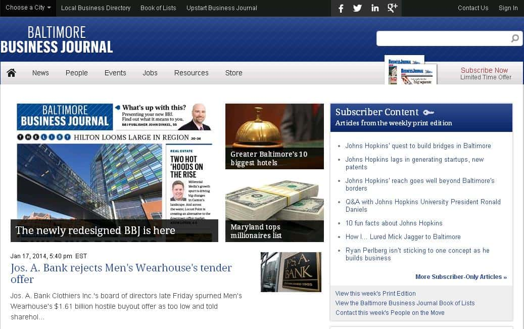 The Baltimore Business Journal has a new redesign MyCity4Her.com